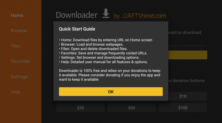 downloader popup