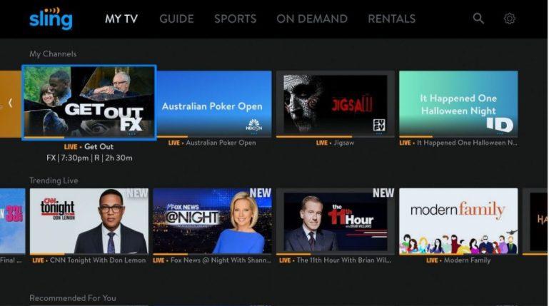 sling tv home screen on air tv mini