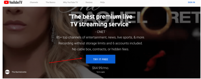 youtube tv premium popup