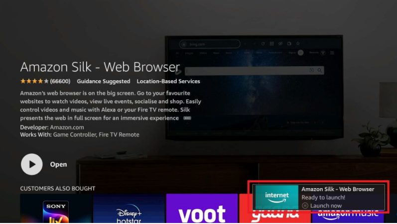 amazon silk web browser open