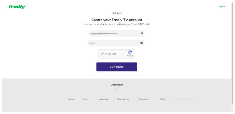 frndly tv create account