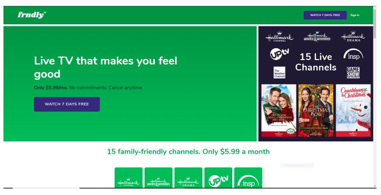 frndly tv watch 7days free