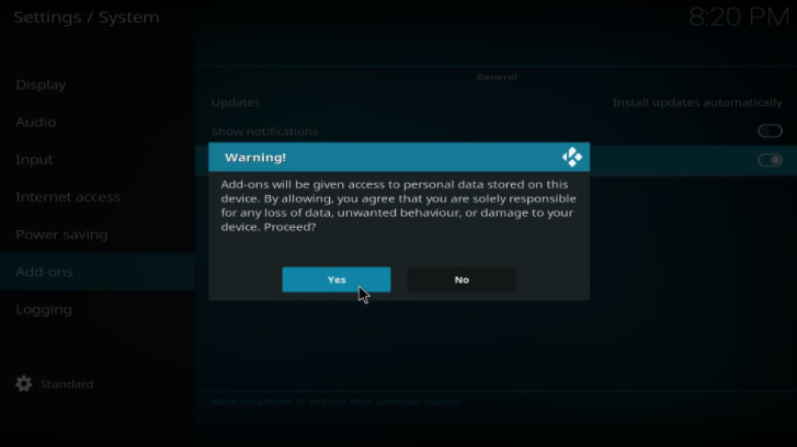 kodi addon warning popup
