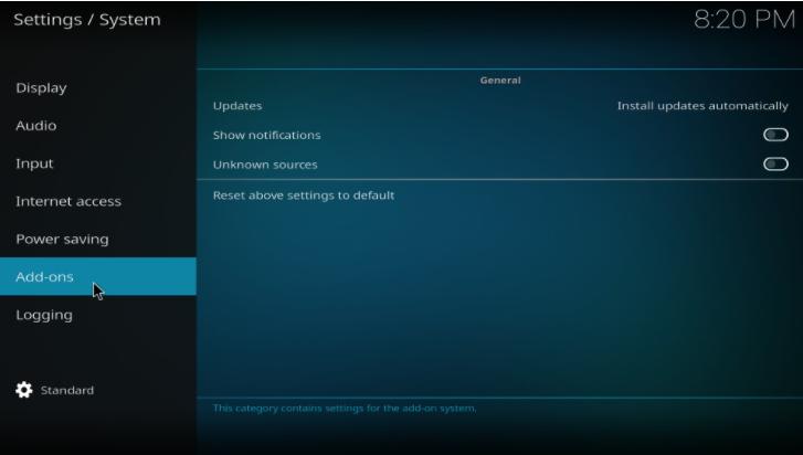 kodi settings addon choice