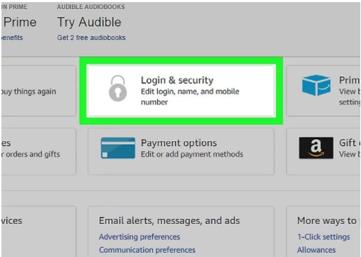 amazon login and security choice
